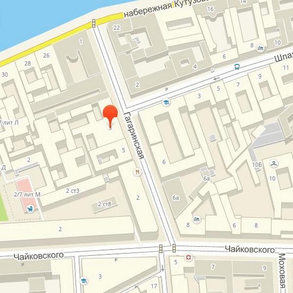 Малый Мраморный дворец на Гагаринской улице на карте
