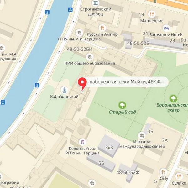 дворец разумовского в санкт петербурге на карте