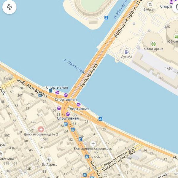 Тучков мост на карте