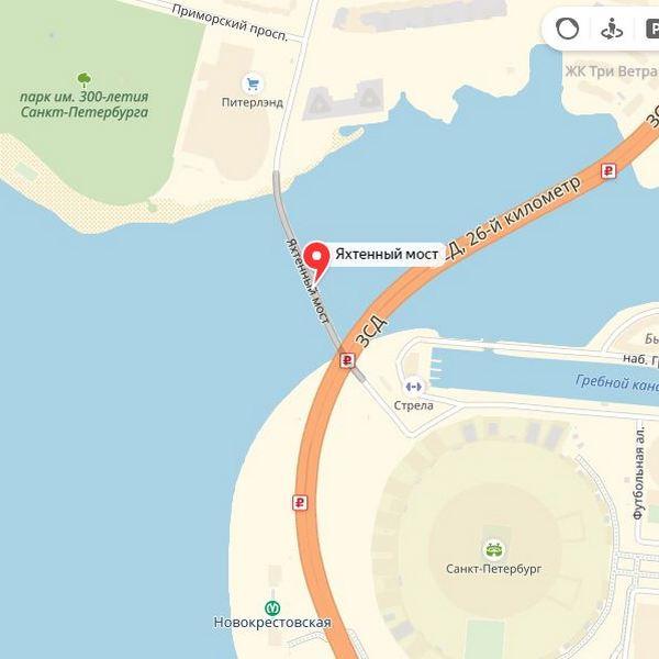 яхтенный мост на карте петербурга