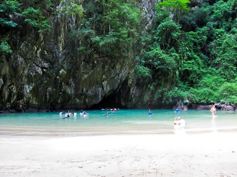 The beach inside the Emerald Cave