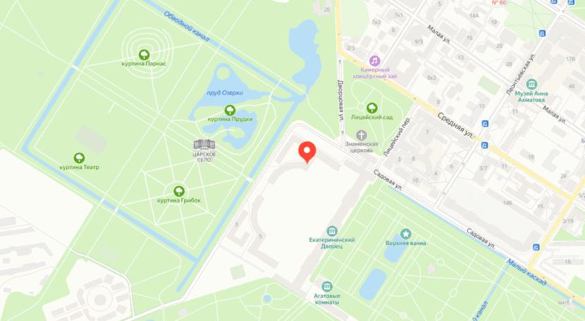 Екатерининский дворец на карте
